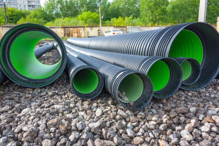 helical: Corrugated water pipes of large diameter prepared for laying