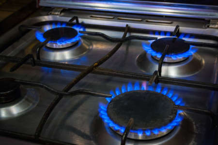 butane: gas burning from a kitchen gas stove