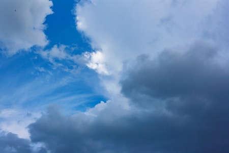 Beautiful cumulus clouds against the blue summer sky
