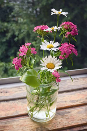 A bouquet of wildflowers in a glass jar on a table by the window Stock Photo