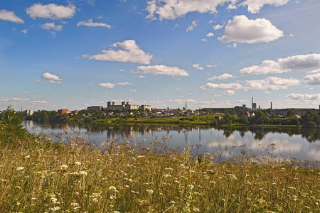 Summer landscape on the shore of a lake in the Ural Mountains Stock Photo
