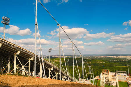 Metal structures of a large ski jumping
