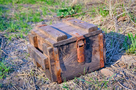 An antique wooden box with rusty metal hardware fittings rests on a grass background close-up. Stockfoto