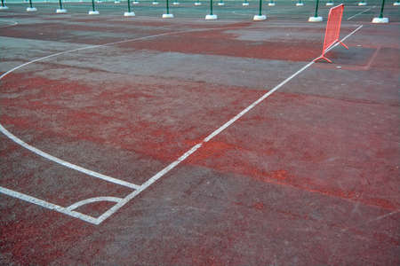 White lines marking. Artificial sports field with white lines markings close-up. Foto de archivo