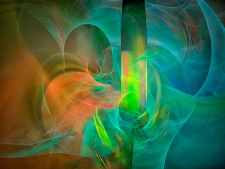 Abstract blue fantastic clouds. Colorful fractal background. Digital art. 3d rendering.
