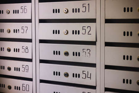 Mailboxes in an apartment house close-up. Stockfoto