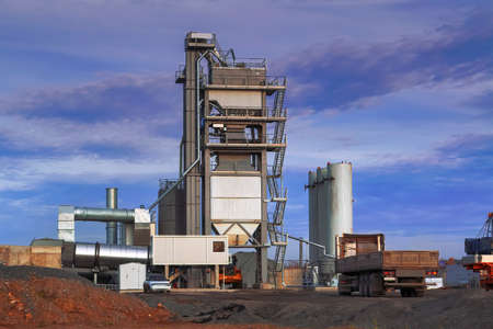 Construction site. Construction of a plant for the production of asphalt.