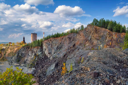 View of the quarry and the old mine from the observation platform Nizhny Tagil Sverdlovsk Region.