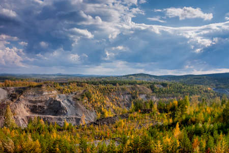 View of the quarry and the old mine from the observation platform Nizhny Tagil Sverdlovsk Region Russia.
