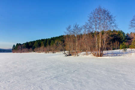 Winter landscape with snowy trees, beautiful frozen lake and yellow reeds at sunset. Standard-Bild - 140373295