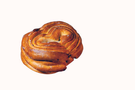 A freshly baked bun with a crispy crust isolate on a white background.
