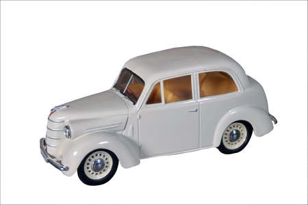 Childrens toy car white isolate on a white background close-up.