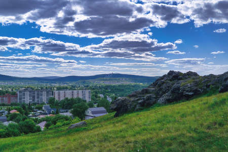View of the city of Nizhny Tagil from the top of the mountain Sverdlovsk region, Russian Federation.