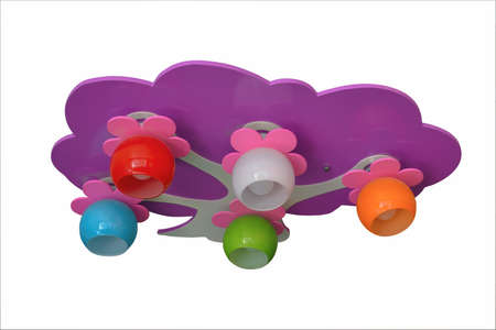 Multi-colored chandelier for a child's room isolate on a white background close-up. 免版税图像