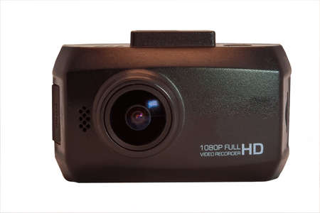 Car camera video recorder isolate on white background close-up.
