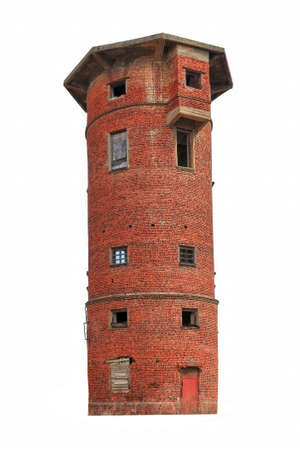 Old abandoned red brick water tower isolate on a white background. Stockfoto