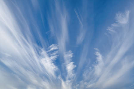 Blue summer sky with white cumulus clouds. Blue sky with clouds nature background. Stockfoto
