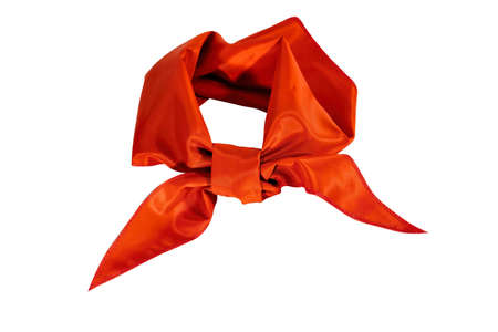 Silk scarf or red tie isolate on white background close-up.