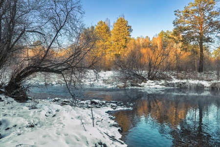 Evening on the river. Beautiful winter landscape. Scenic view of a river in winter.