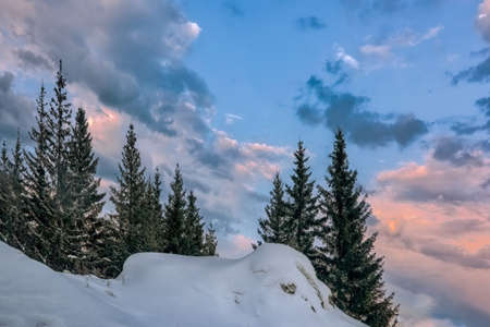 Majestic sunset in the winter mountains landscape. Sunrise in the snowy forest.
