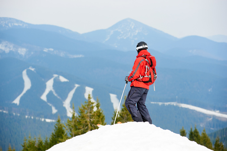 Back view of male skier enjoying on the top of the slope at ski resort. Mountains, forests and ski slopes on the background. Ski season and winter sports concept