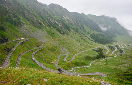 Horizontal shot of stunning mountain scenery Transfagarasan road in romania landscape nature beauty wallpaper background lifestyle travelling tourism active wellbeing harmony calm.