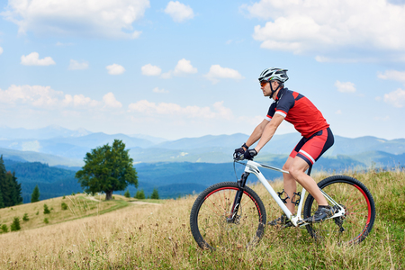 Professional sportsman cyclist in sportswear and helmet riding a bike in high grass with big green tree and beautiful Carpathian mountains view in distance. Active lifestyle and extreme sport concept.