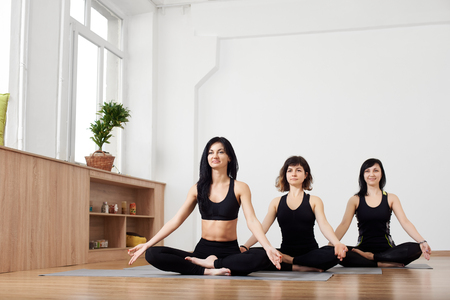 Young brunettes women in yoga studio sitting on floor on mat in row smiling and relaxing making meditation lotus pose with fingers together in mudras. Yoga lifestyle. Copy space with white background Фото со стока