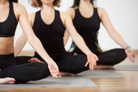 Ausgeschnittene Ansicht von jungen Frauen in der Yogaklasse, die in Reihe sitzen und sich entspannen und Meditationslotuspose machen. Konzentrieren Sie sich auf die Finger zusammen in Akasha Mudra. Gesunder Lebensstil, Fitnessclub-Konzept. Verschwommener Hintergrund