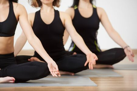 Cropped view of young women in yoga class sitting in row relaxing making meditation lotus pose. Focus on fingers together in akasha mudra. Healthy lifestyle, fitness club concept. Blurred background