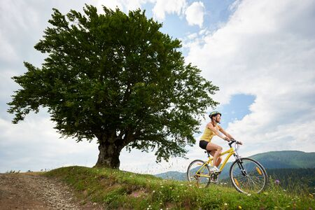 Attractive happy female cyclist riding on yellow mountain bike near big tree, wearing helmet, enjoying summer day in the mountains. Outdoor sport activity, lifestyle concept