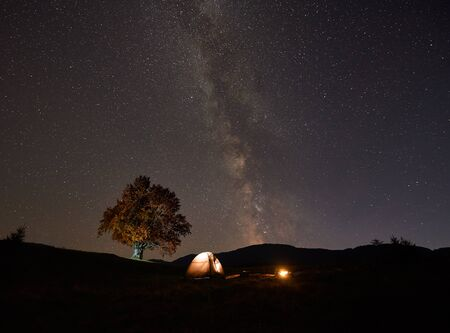 Summer camping at night in the mountains. Tourist hikers tent brightly lit from inside near big tree and burning campfire on grassy valley under dark blue starry sky with Milky Way constellation.