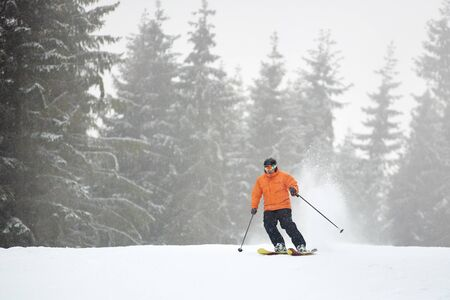 Adult male skier in goggles skiing during snowfalling weather on flat road in mountain coniferous forest making deep snow powder behind. Popular winter active outdoors recreation, pastime alone Banque d'images - 131579067