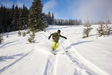 Male person skiing on wide open ski runs in downhill. Skiing down between fir trees. Spending time traveling and skiing. High mountains and nature in bright sunny day on background. Front view. Banco de Imagens