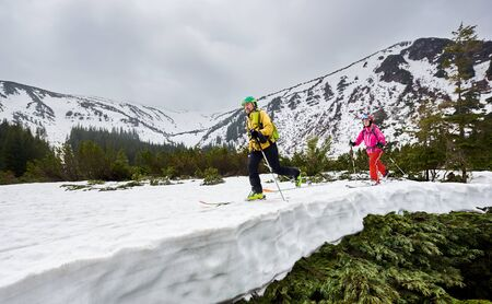 Couple of cross country skiers man and woman with backpacks walking and exercising on ski in mountains near winter coniferous forest. Snow-covered mountain in full altitude on background