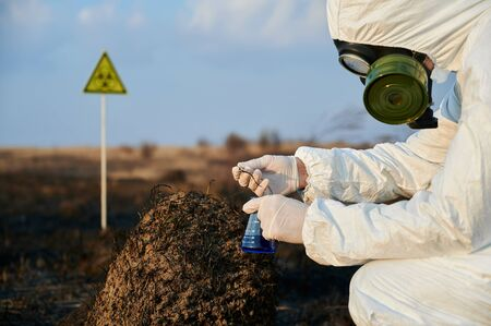 Close-up view of crouched ecologist wearing white coverall, gas mask and gloves collecting samples from a scorched anthill on a burnt field. Scientist holding glass flask with blue liquid and tweezers Stock Photo