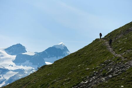 Back view of two mountaineers with backpacks walking on trail using trekking sticks, beautiful mountains scenery on background. Mountain hiking, men reaching peak in summer day. Sport tourism in Alps.