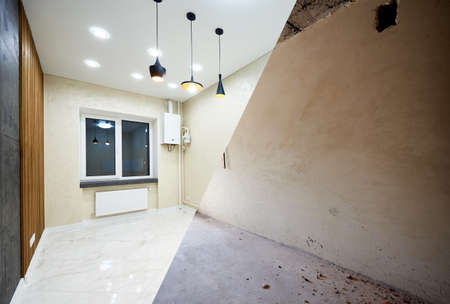 Modern, posh, light, creative kitchen vs grey concrete walls in new building project, reconstruction works before and after