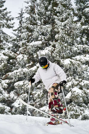 Skier doing tricks in the mountains in winter season. Man freerider making jump while sliding down snow-covered slopes with beautiful snowy spruce forest on background. Side view. Stock Photo