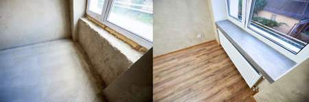 Room in apartment before and after renovation works, old and new window sill, wood textured laminate, renovation concept