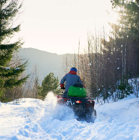 Rear view of a biker driving four-wheeler ATV in winter in the mountains. Offroad drive in snow in forest, bright sunny day. Concept of winter sports Reklamní fotografie
