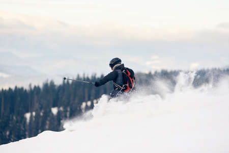 Back view of skier backpacker descending from mountain in deep white snow powder. Skier on high slope. Concept of popular winter extreme amateur sport. Mountains forest view. Grey sky on background.