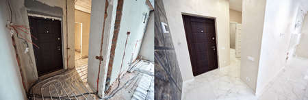 Comparative image of a hall in apartment before and after restoration. Entrance door, interior doors, floor heating pipe system and white tiles layer on whole area.