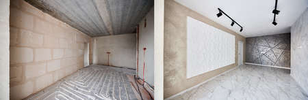 Empty apartment room with stylish design before and after refurbishment. Comparison of old flat with underfloor heating pipes and freshly renovated flat with stretch ceiling and marble floor.