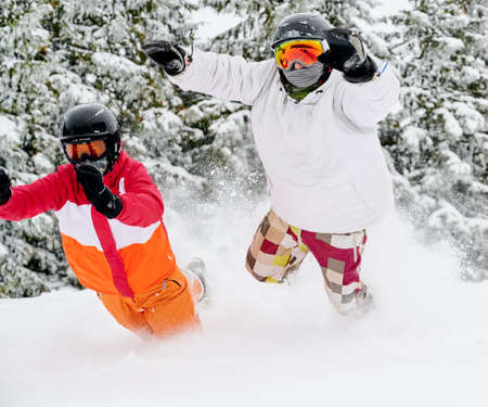 Young couple of tourists playfully falling in snow against adorable spruce forest on background. Vivid colorful suits on white snow. European ski resort in winter. Close-up snapshot