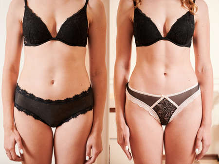 Front view of womans body before and after weight loss, plastic surgery concept