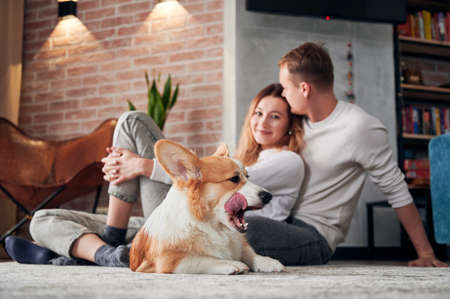 Adorable Corgi lying on the floor and sticking out tongue while beautiful young couple cuddling. Happy woman leaning on husband and smiling while sitting on the floor with cute dog. Focus on Corgi. 版權商用圖片