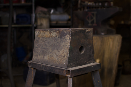 anvil: Big metal Anvil in smith workshop background