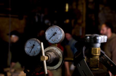 regulators: Welding gas cylinder pressure gauge close up Stock Photo