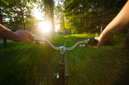 bycicle: Eye view when girl ride by bycicle in park to sunset. Summer landscape. Sun goes down.